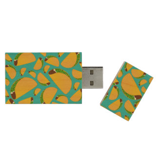 Turquoise tacos wood USB 2.0 flash drive