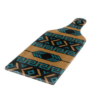 Turquoise Tan Southwest Aztec Tribal Pattern Cutting Board