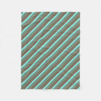 Turquoise Tan Striped Pattern Fleece Blanket