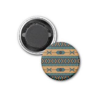 Turquoise Tan Tribal Pattern 3 Cm Round Magnet