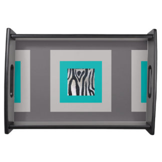 Turquoise, Taupe & Zebra Print Serving Tray