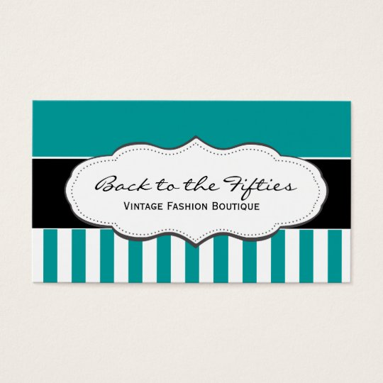 Turquoise / Teal and White Striped Business Cards
