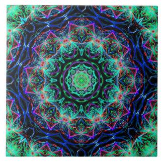 Turquoise Teal Blue Fractal Mandala Pattern Tile