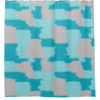 Turquoise Teal Blue Grey Gray Modern Abstract Art Shower Curtain