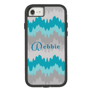 Turquoise Teal Blue Grey Gray Ombre Chevron Girl Case-Mate Tough Extreme iPhone 8/7 Case