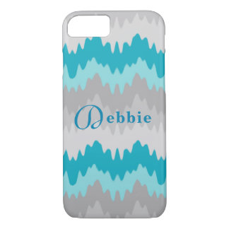 Turquoise Teal Blue Grey Gray Ombre Chevron Girl iPhone 8/7 Case