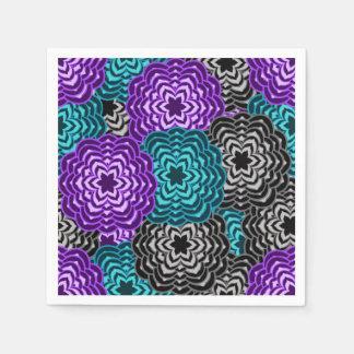 Turquoise Teal Blue Lavender Purple Grey Dahlia Paper Napkin