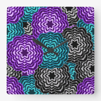 Turquoise Teal Blue Lavender Purple Grey Dahlia Square Wall Clock