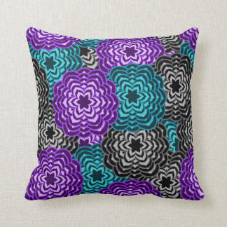 Turquoise Teal Blue Lavender Purple Grey Floral Throw Pillow