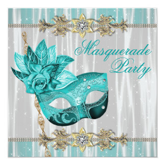 Turquoise Teal Blue Masquerade Party Invitations