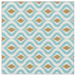 Turquoise Teal Brown Retro Chic Ikat Drops Pattern Fabric