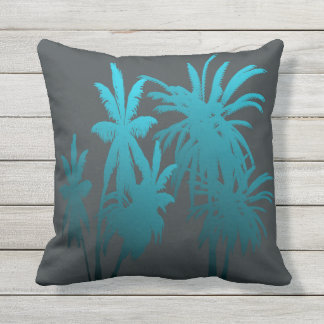 Turquoise Teal Fade Palm Trees Tropical Sunset Outdoor Cushion