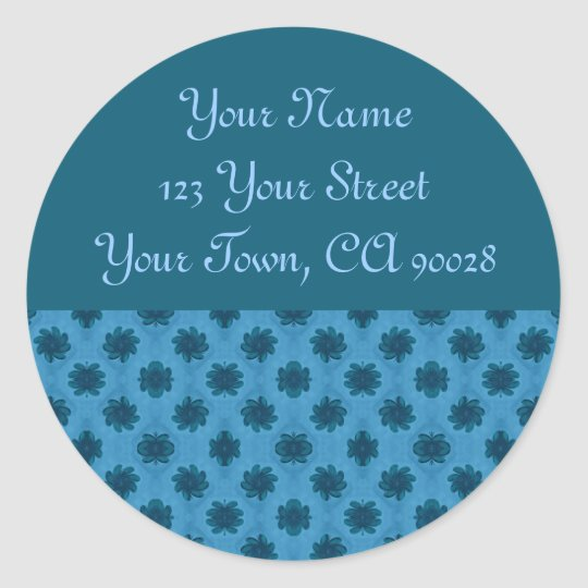 Turquoise Teal Floral Address Label Round Sticker