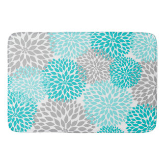 Turquoise Teal Gray Bathroom shower decor Bath Mat
