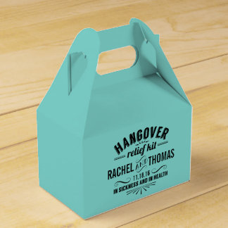 Turquoise Teal Hangover Relief Kit Wedding Favour Box