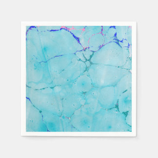 Turquoise Teal Marble Paint Abstract Watercolor Paper Napkin