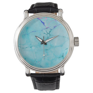 Turquoise Teal Marble Paint Abstract Watercolor Watch