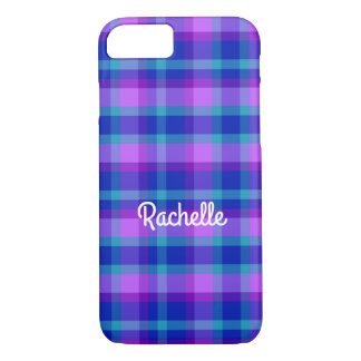 Turquoise Teal Navy Blue Purple Lavender Plaid iPhone 8/7 Case