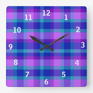 Turquoise Teal Navy Blue Purple Lavender Plaid Square Wall Clock