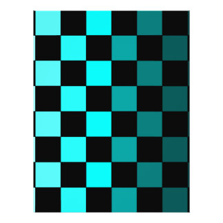 Turquoise Teal Ombre Checkerboard Chessboard Personalized Flyer