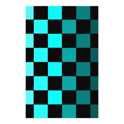Turquoise Teal Ombre Checkerboard Chessboard Full Color Flyer