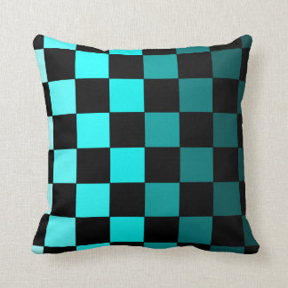 Turquoise Teal Ombre Checkerboard Chessboard Throw Pillow