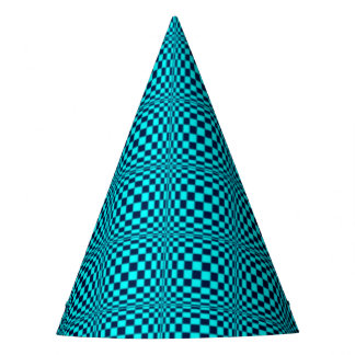 Turquoise Teal Optical Checker Board Tile Pattern Party Hat