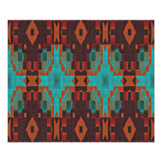 Turquoise Teal Orange Red Eclectic Ethnic Look Poster