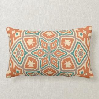 Turquoise Teal Orange Taupe Kaleidoscope Pattern Lumbar Cushion