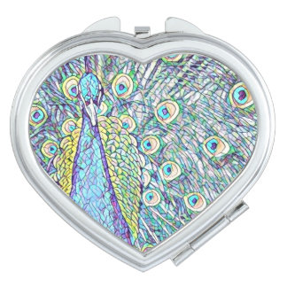 Turquoise/Teal Peacock Heart-shaped compact mirror