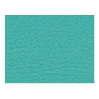 Turquoise Teal Retro Trendy Custom Leather Postcard