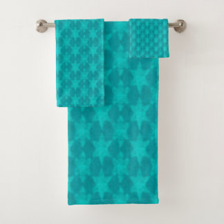 Turquoise Teal Stars Bath Towel Set