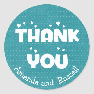 Turquoise Teal Thank You Polka Dots Personalized Round Sticker