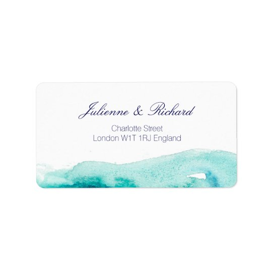 Turquoise Teal Watercolor Wedding  Address Labels