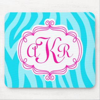 Turquoise Teal Zebra Print Pink Monogram Initial Mouse Mat