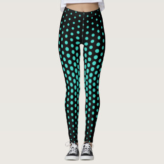 Turquoise Techno Dot Pattern Leggings