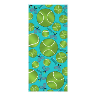 Turquoise tennis balls rackets and nets rack card template