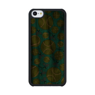 Turquoise tennis balls rackets and nets walnut iPhone 5C slim case