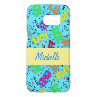 Turquoise Text Symbols Name Personalized