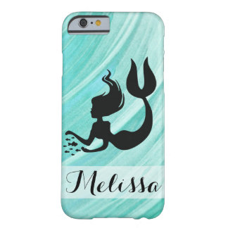 Turquoise Textured Mermaid Silhouette Iphone Case