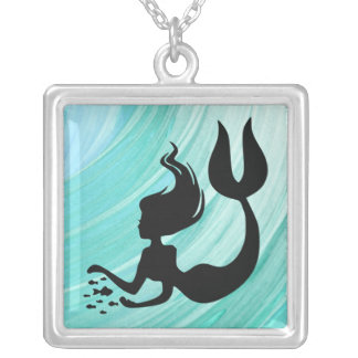 Turquoise Textured Mermaid Silhouette Necklace