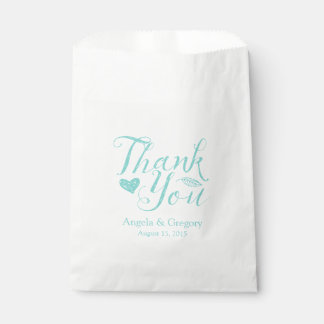 Turquoise Thank You Wedding Favor Bag