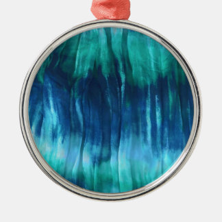 Turquoise tie-dye crinkly fabric Silver-Colored round decoration