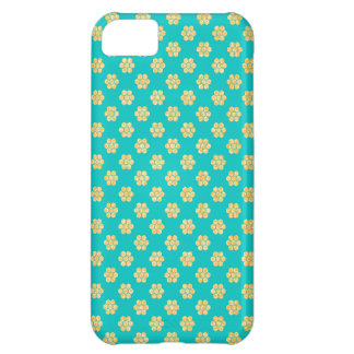 Turquoise Tiffany and Gold Daisy Flower Sparkle iPhone 5C Case