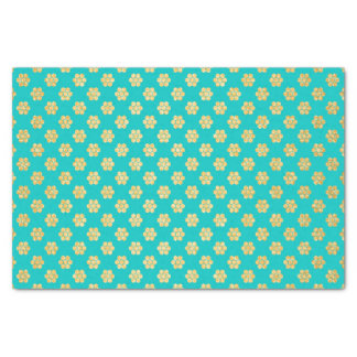 Turquoise Tiffany and Gold Daisy Flower Sparkle Tissue Paper