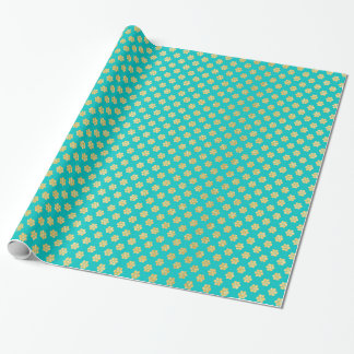 Turquoise Tiffany and Gold Daisy Flower Sparkle Wrapping Paper