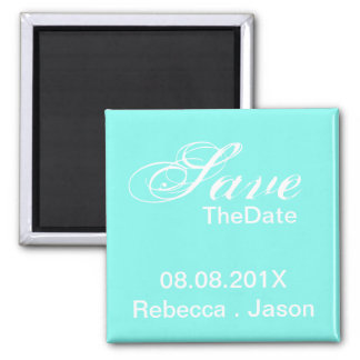 turquoise tiffany blue wedding save the date refrigerator magnet