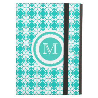 Turquoise Tile Pattern Custom Monogram Case For iPad Air