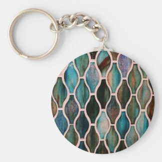 Turquoise tiles basic round button key ring