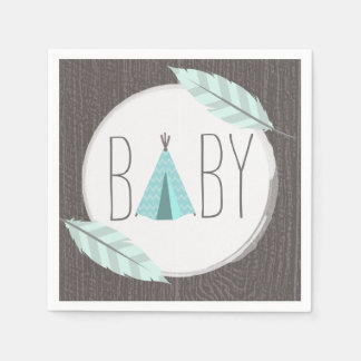 Turquoise Tipi Baby Shower Paper Napkin